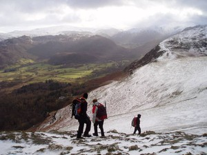 Joe, Greg and Andrew descending from Catbells