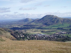 Looking over Church Stretton to Caer Caradoc Hill, and The Lawley and The Wrekin beyond