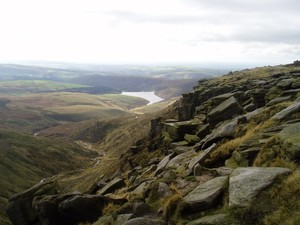 Looking down to Kinder Reservoir from near Kinder Downfall