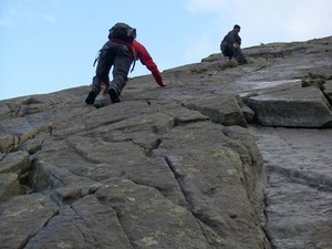 Scrambling up Little Tryfan on Saturday afternoon